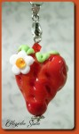 Erdbeerherz Kettenanhänger
